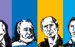 Caligrafía de los escritores Ernest Hemingway, Jorge Luis Borges, Emily Dickinson, Philip Roth. Ilustración de Daniela Mora Hernández.