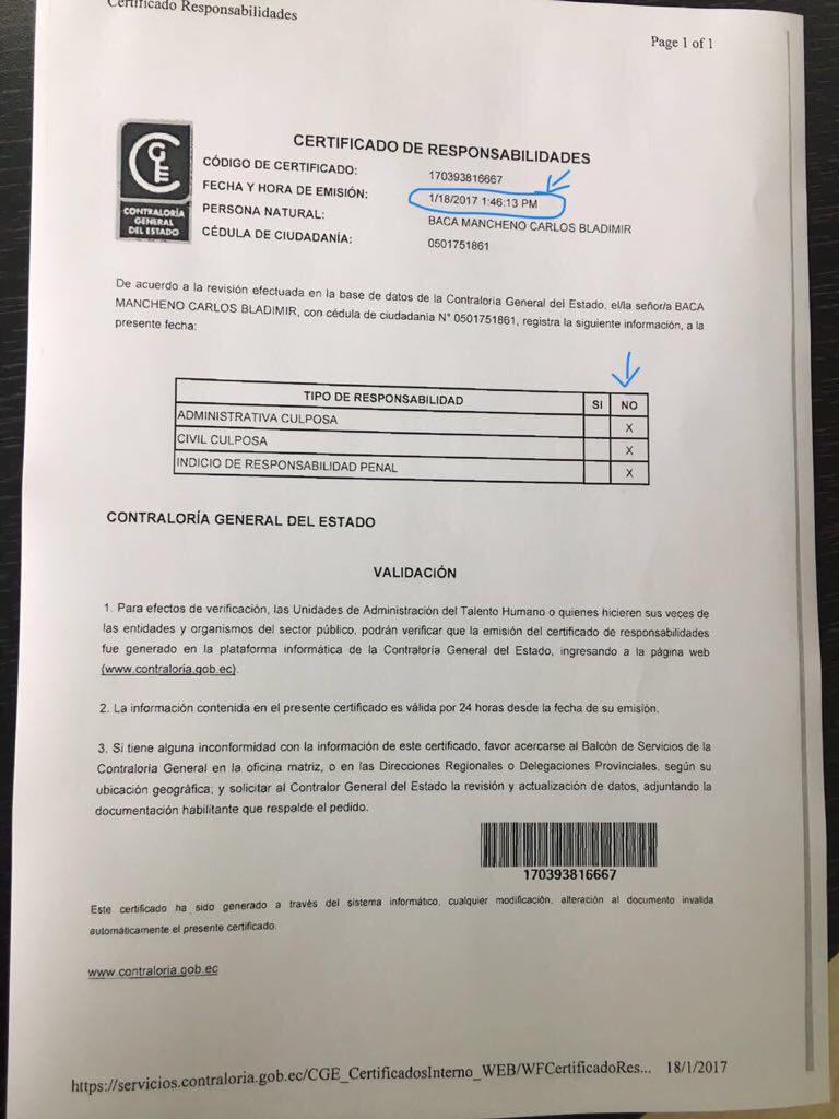 El certificado emitido por la Contraloría donde dice que Baca no tiene informes con indicios de responsabilidad penal