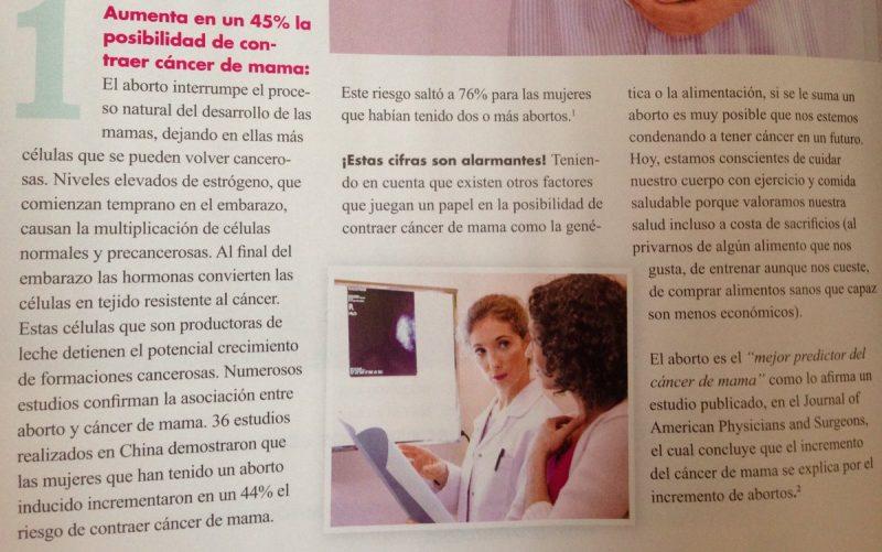 aumenta el riesgo de cáncer de mama el aborto