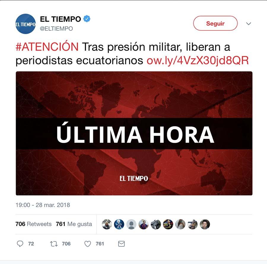 Tuit de diario El tiempo anunciando la liberación de los periodistas ecuatorianos.
