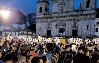 Manifestación por líderes sociales asesinados en Colombia