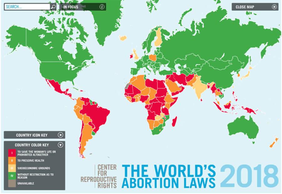 mapa de leyes de aborto en el mundo