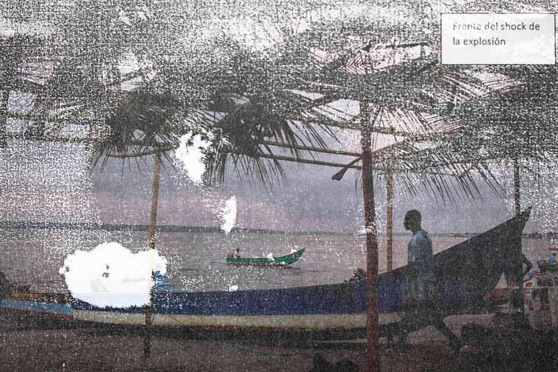 Fotografías sacadas de los informes de la Fiscalía que sistematizan la realidad de la zona de Esmeraldas junto a fotografías realizadas en los mismos lugares. Foto: Periodistas sin cadenas.