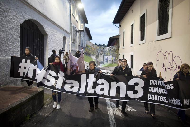 Familiares de periodistas secuestrados exigieron liberación en las calles de Quito