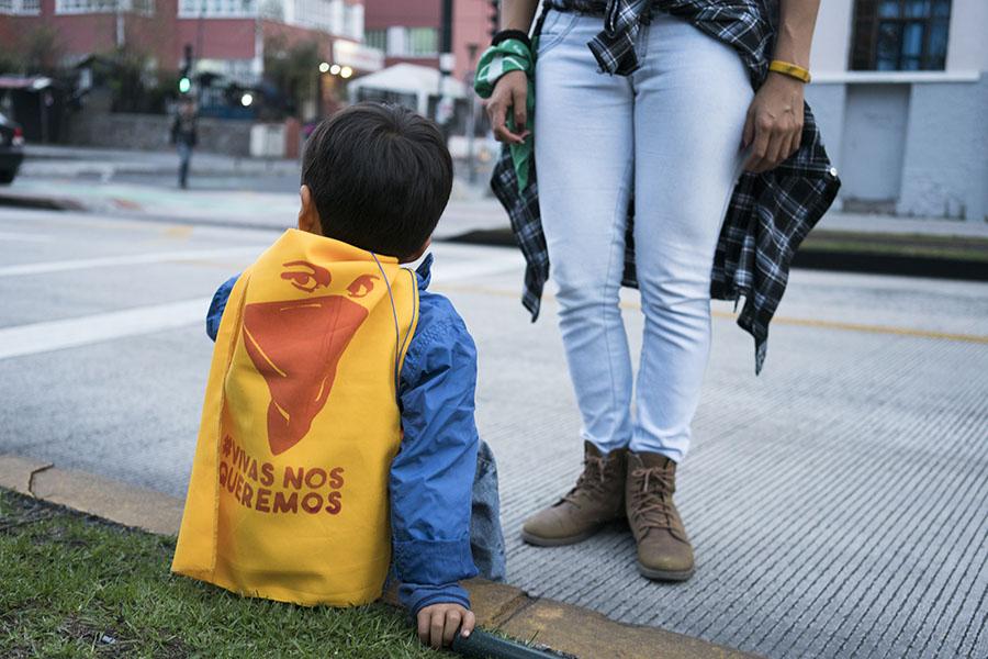 Niños y niñas asistieron a la marcha del 24 de noviembre