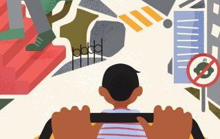 Quito no es una ciudad amigable para niños. Ilustración de Paula de la Cruz.