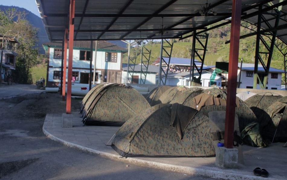 Carpas militares en San Carlos de Limón durante estado de excepción