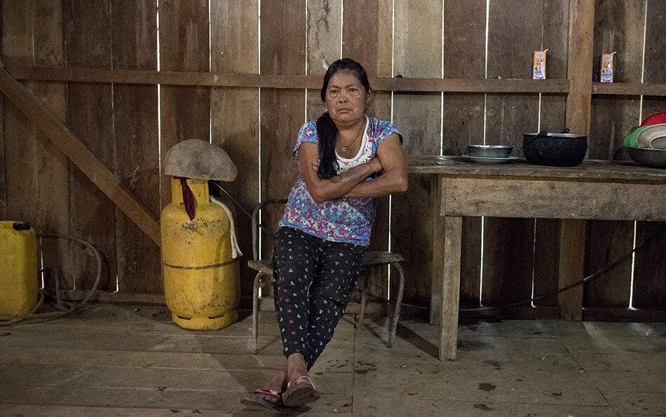 María Luisa, una de las habitantes de Tsuntsuim saqueadas por los militares durante el conflicto armado en Tsuntsuim