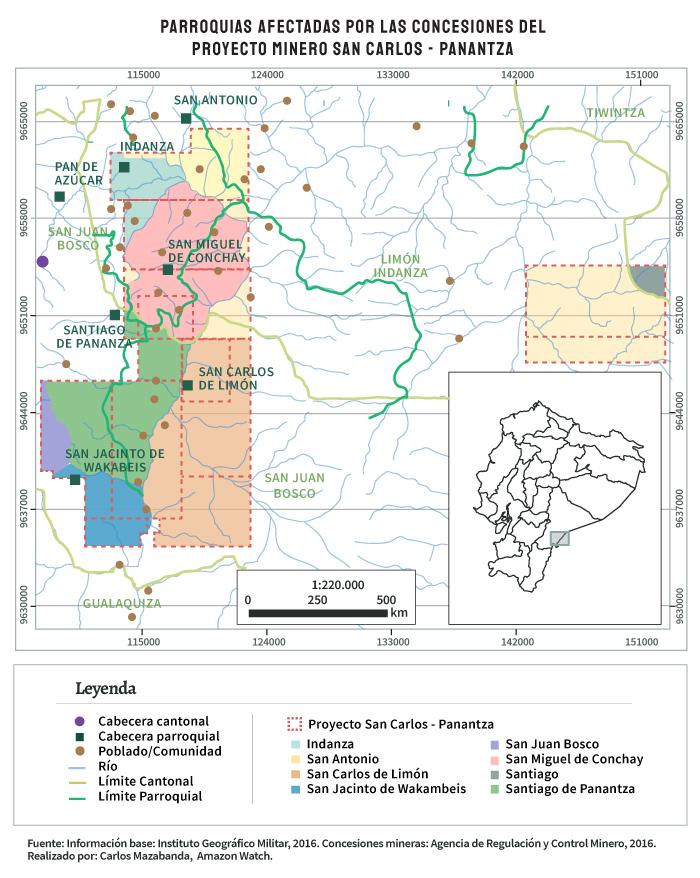 Parroquias afectadas por proyecto minero San Carlos - Panantza