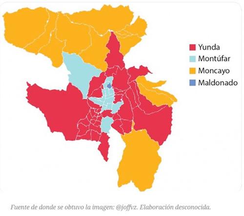Mapa de elecciones 2019 en Quito que circula en redes sociales