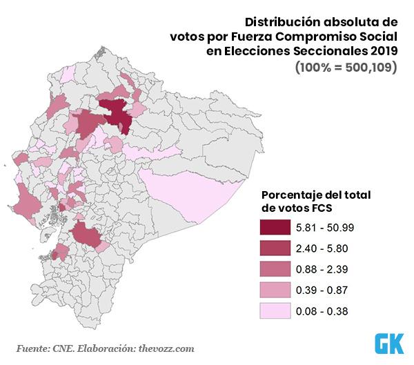 Distribución de votos por Fuerza Compromiso Social en las elecciones 2019 en Ecuador