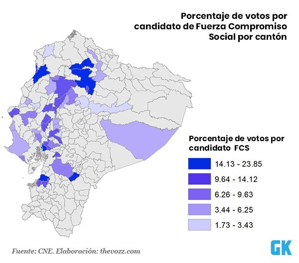 Votos por candidatos de fuerza compromiso social por cantón