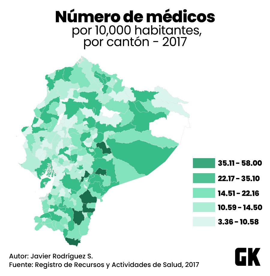 Número de médicos por habitante en 2017 en Ecuador. Mapa realizado para GK.