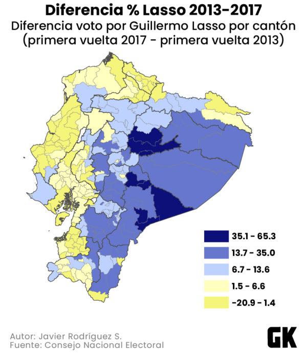 Diferencia del voto por Lasso entre 2013 y 2017.