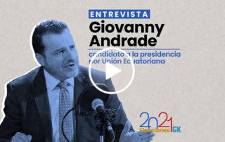 En esta entrevista a Giovanny Andrade, el candidato presidencial por Unión Ecuatoriana habla sobre las denuncias contra su organización política y sus propuestas sobre minería, seguridad, equidad salarial, entre otros temas. Ilustración de Gabriela Valarezo para GK.