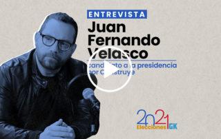 En esta entrevista, el candidato presidencial por Construye, Juan Fernando Velasco, habla sobre la organización política que lo respalda, su paso por el Ministerio de Cultura y sus propuestas. Ilustración de Gabriela Valarezo para GK.