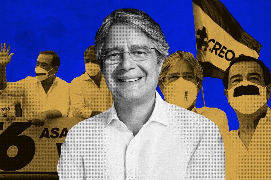 El techo de cristal de Guillermo Lasso en las elecciones de 2021. Ilustración de Paula De la Cruz para GK.