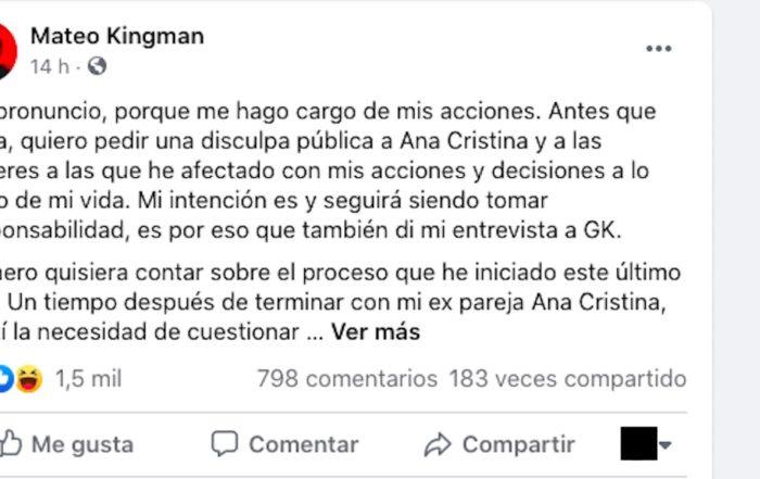 Mateo Kingman publica comunicado