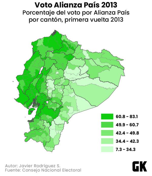 Porcentaje del voto por Alianza País en 2013.