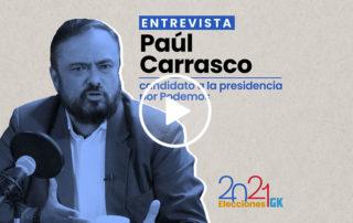 En esta entrevista a Paúl Carrasco, candidato presidencial por Podemos, cuenta quién le financia su campaña y detalla sus propuestas de gobierno. Ilustración de Gabriela Valarezo para GK.
