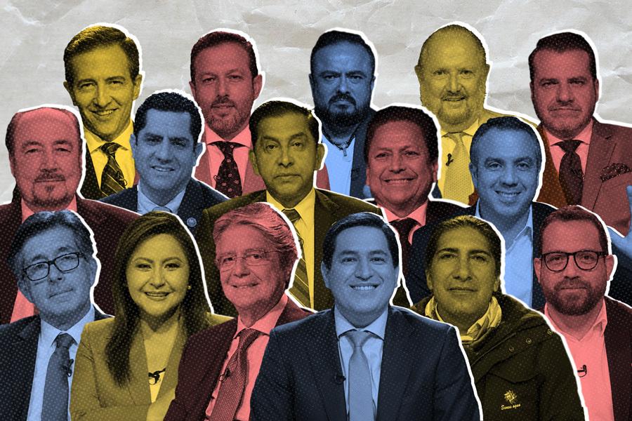 Este fin de semana fueron los debates obligatorios del CNE. ¿Qué dijeron los candidatos? Ilustración de Gabriela Valarezo para GK.